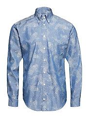 Denim Koi Fish Print Shirt - BLUE