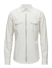 White Twill Zipper Shirt - WHITE