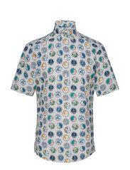 Tennis Print Seersucker Short Sleeve Popover Shirt - WHITE