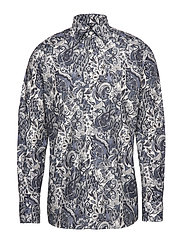 Soft Blue & White Lightweight Flannel Paisley Shirt - GREY