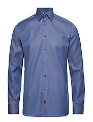 Blue & Beige Jacquard Shirt - BLUE