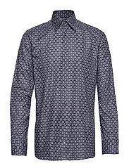 Navy Medallion Print Twill Shirt - BLUE