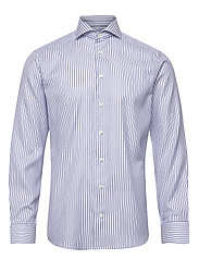 Navy Striped Cotton-Tencel Twill Shirt - BLUE