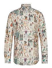 Egyptian Motif Print Twill Shirt - OFFWHITE/BROWN