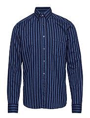 Striped Indigo Flannel Shirt - BLUE