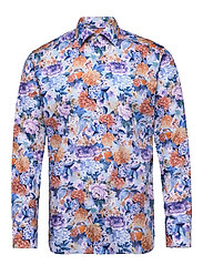 Floral Print Cotton-Tencel Shirt - BLUE