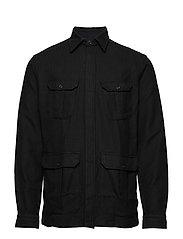 Indigo Luxe Dobby Overshirt - BLACK