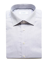 Eton - Diamond weave shirt - peruspaitoja - blue - 3