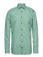 Blue Check Shirt - Embroidery - GREEN