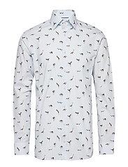 Striped Animal Print Shirt - BLUE