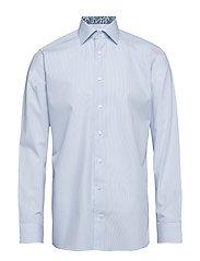 Sky Blue Striped Poplin Shirt - Floral Details