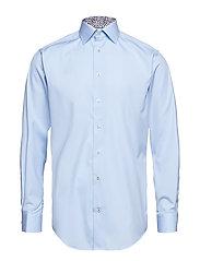 Blue Shirt - Floral Print Details - BLUE
