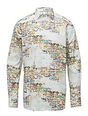Lisbon Skyline Print Shirt - PINK/RED