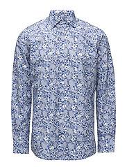 Blue Floral Print Shirt - BLUE