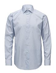 Blue Micro Print Shirt - Embroidery - BLUE
