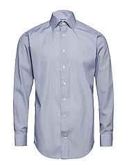 Blue Micro Print Shirt - Embroidery - BLUE