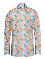 Tennis Court Print Poplin Shirt - PINK/RED