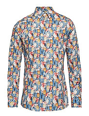 Tennis Racket Flower Print Poplin Shirt - BLUE