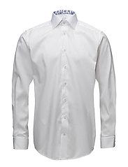 White Twill Shirt - Floral Details - WHITE