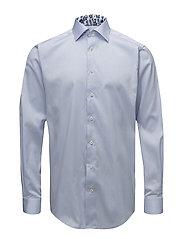 Sky Blue Twill Shirt - Floral Details - BLUE