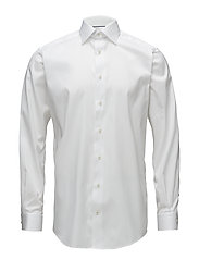 White Twill Shirt - Floral Embroidery - WHITE