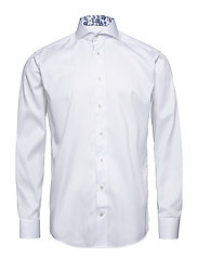 White Twill Shirt - Floral Details - WHITE