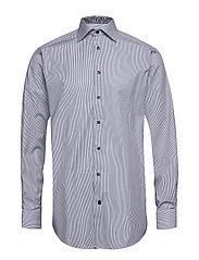 Blue Striped Shirt - Floral Details - BLUE