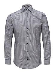 Navy Striped Shirt - Floral Details - BLUE
