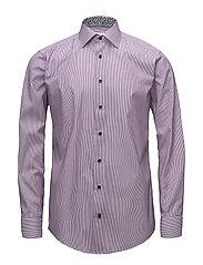 Purple Striped Shirt - Floral Details - PURPLE