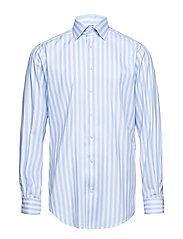 Blue & White Striped Twill Shirt - BLUE