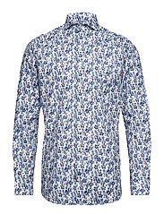 Floral Print Twill Shirt - BLUE