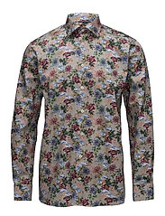 Micro Floral Print twill Shirt - PINK/RED