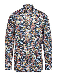 Japanese Motif Print Shirt - BLUE