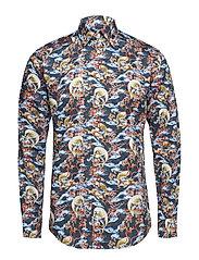 Japanese Motif Print Shirt - BLUE