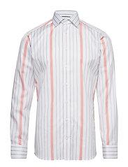 Striped Cotton-Tencel Shirt - WHITE