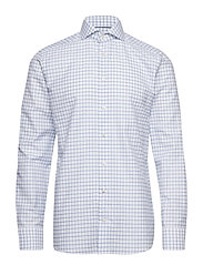 Checked Cotton & Linen Shirt - BLUE