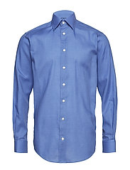 Blue Herringbone Flannel Shirt - BLUE