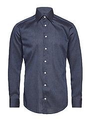 Blue Herringbone Flannel Shirt - BLUE