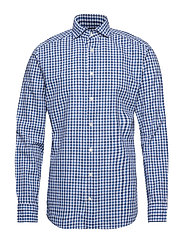 Blue Cotton & Linen Gingham Check Shirt - BLUE