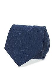 Navy White Shantung Cotton & Silk Tie - BLUE