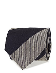 Navy Striped Wool & Silk Tie - BLUE