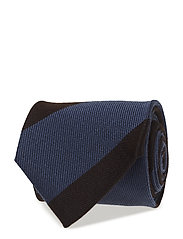 Brown & Blue Striped Wool & Silk Tie - OFFWHITE/BROWN