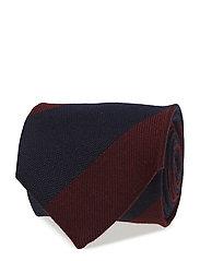 Red Striped Wool & Silk Tie - PINK/RED