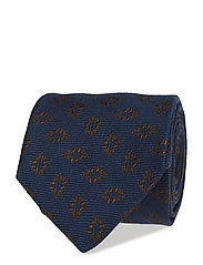 Blue Medallion Silk & Wool Tie - BLUE