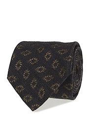 Brown Medallion Silk & Wool Tie - OFFWHITE/BROWN