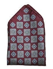 Burgundy Medallion Pocket Square - PINK/RED
