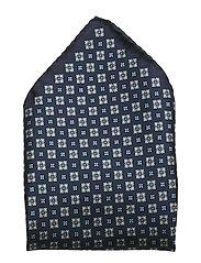 Navy Medallion Silk Pocket Square - BLUE