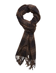 Navy Checked Wool Scarf - BLUE