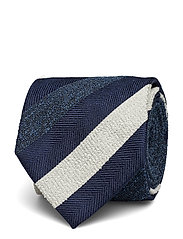 Navy Striped Silk, Cotton & Polyester Tie - BLUE