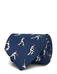 Navy Tennis Player Print Tie - BLUE